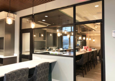 Interior glass windows in restaurant in Wilmington, NC