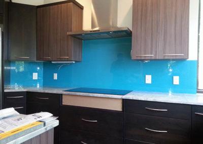 blue glass back splash