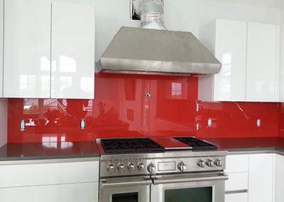 red glass back splash