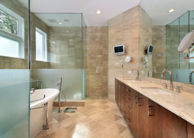Master Bath With Frosted Glass Shower